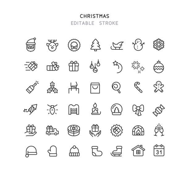 42 Christmas Line Icons Editable Stroke Set of christmas line vector icons. 42 line icons. Editable stroke. christmas icons stock illustrations
