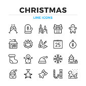 Christmas line icons set. Modern outline elements, graphic design concepts. Stroke, linear style. Simple symbols collection. Vector line icons
