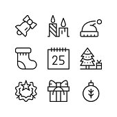 Christmas line icons set. Outline elements, linear signs, simple symbols collection. Modern graphic design concepts. Vector line icons isolated on white background