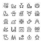 Christmas line icons set. Simple outline symbols, modern linear elements collection. Vector line icons