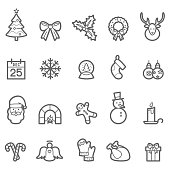 There are various of prominent line icons relating to Christmas and New Year Festival.