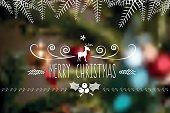 christmas  line ornament on blurred christmas tree