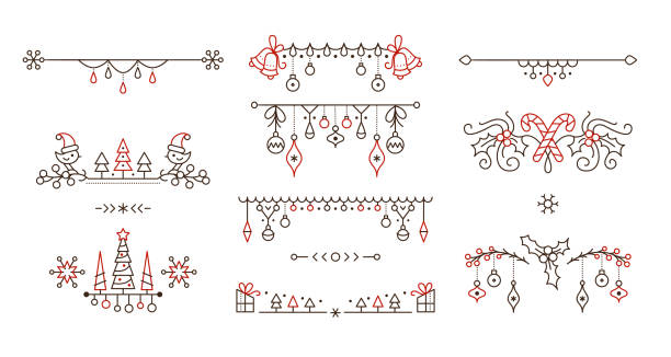 Christmas linear vector decorative borders set Christmas linear vector decorative borders set. Christmas outline decorative borders set. Winter season holiday page dividers isolated pack. New year festive decor for greeting card. Xmas tree hanging baubles design elements. holidays stock illustrations