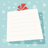 Vector illustration of a Christmas letter with detailed snowflakes