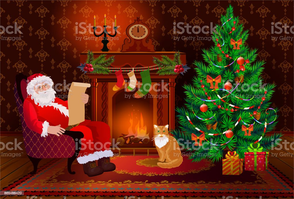 Christmas Living Room Interior With Xmas Tree And Fireplace. Santa Claus  And Cat In A
