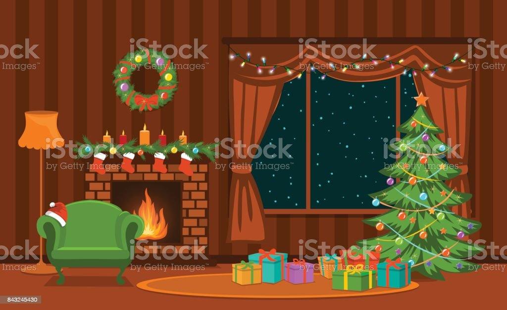 Kerst woonkamer met kerstboom, lichten, presenteert, open haard, fauteuil, decoratie en presenteert - Royalty-free Achtergrond - Thema vectorkunst