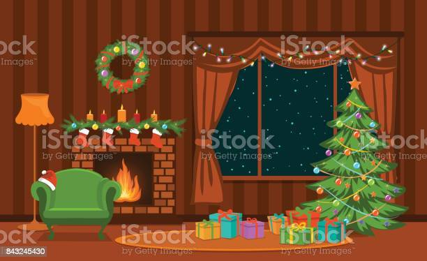 Kerst Woonkamer Met Kerstboom Lichten Presenteert Open Haard Fauteuil Decoratie En Presenteert Stockvectorkunst en meer beelden van Achtergrond - Thema