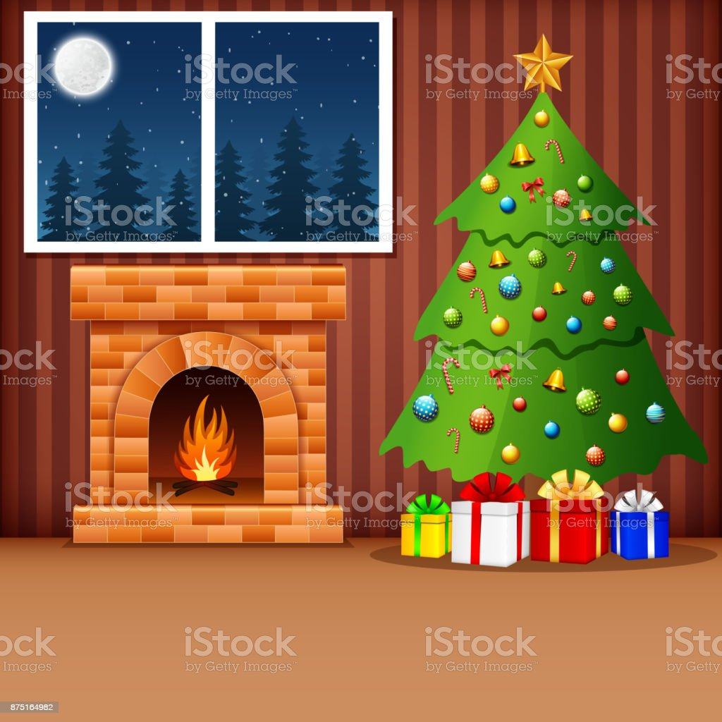 Christmas Living Room With Xmas Tree Presents And Fireplace
