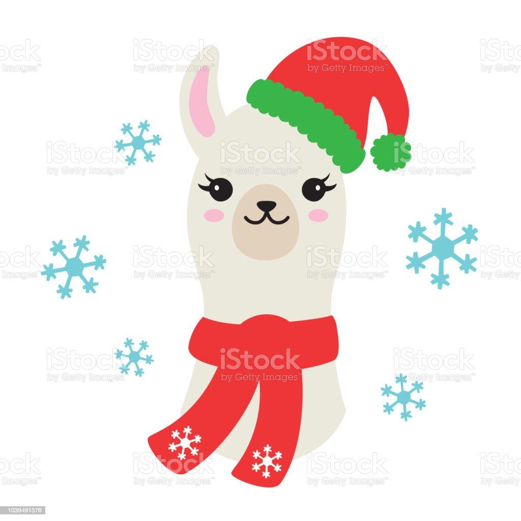 Natal de lhama ou Alpaca com chapéu de Papai Noel e ilustração vetorial de cachecol - ilustração de arte em vetor