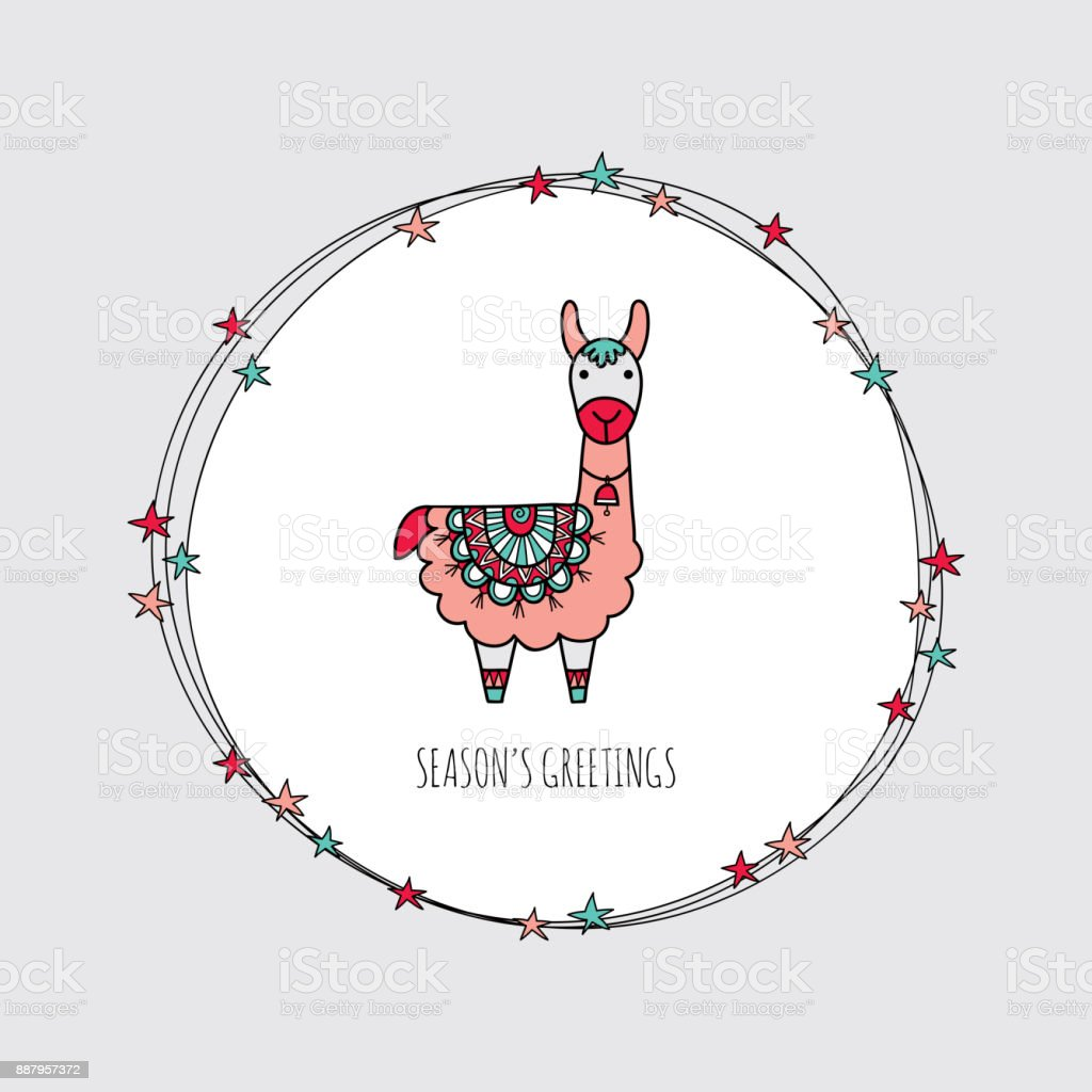 Christmas Llama Wreath Hand Drawn Doodle Vector vector art illustration