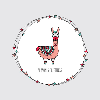 Christmas Llama Wreath Hand Drawn Doodle Vector Stock Illustration - Download Image Now