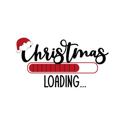 Christmas loading...funny holiday symbol, with Santa's hat.