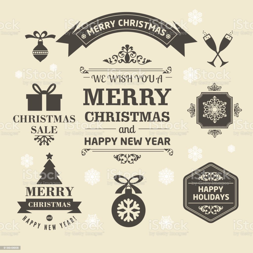 christmas logos and medals in a retro style for christmas royalty free christmas logos and - Christmas Logos