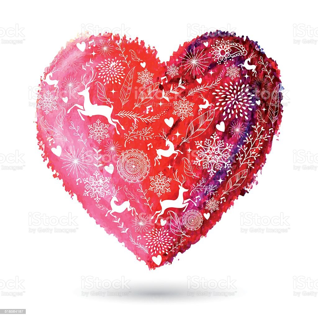 Amour Coeur Carte De Voeux De Noël Vecteurs Libres De Droits