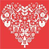 Christmas heart composition in retro-modern Scandinavian style.