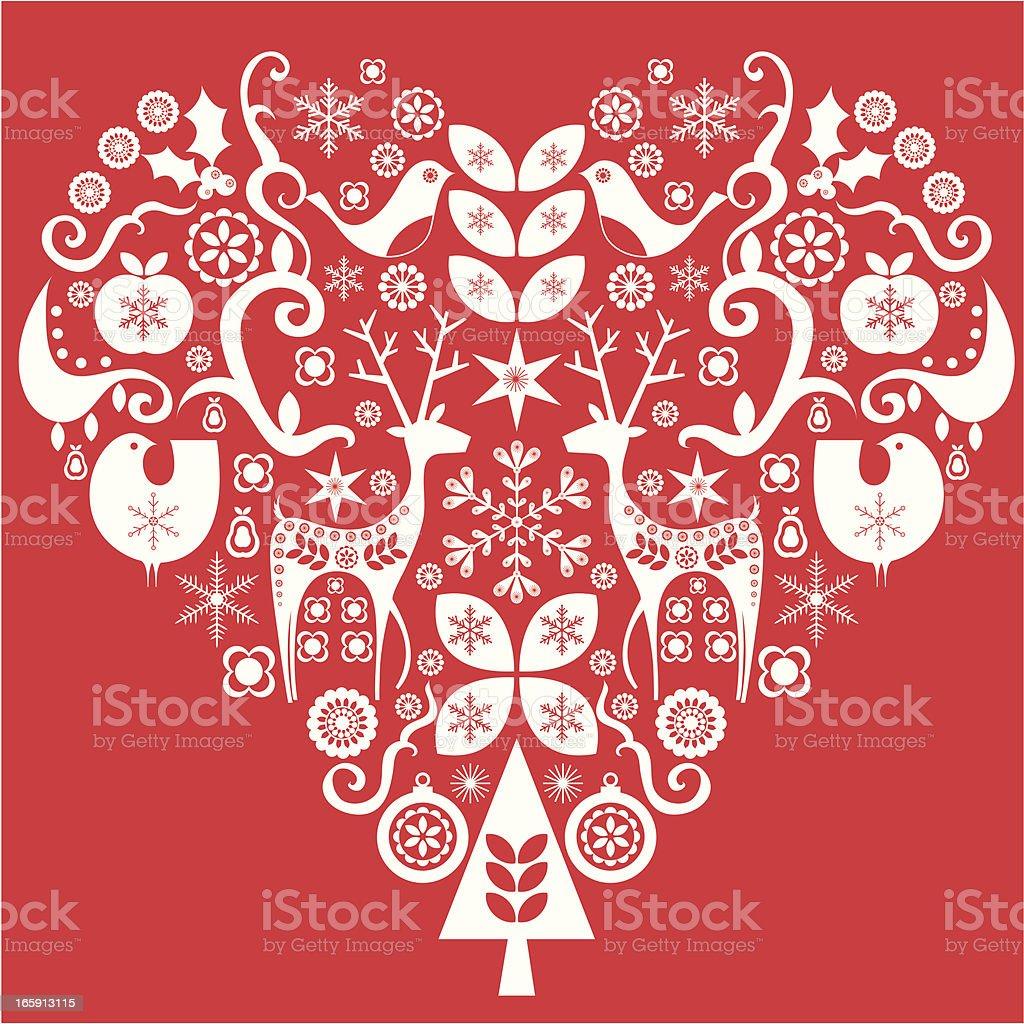 Amor coração de Natal - ilustração de arte em vetor