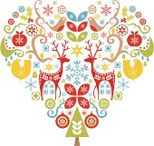 Retro-modern Scandinavian-style Christmas heart design including reindeer, robin, snowflakes, Christmas tree, baubles and a partridge in a pear tree.