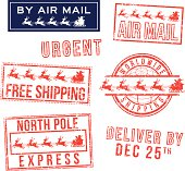 Christmas mail rubber stamps.