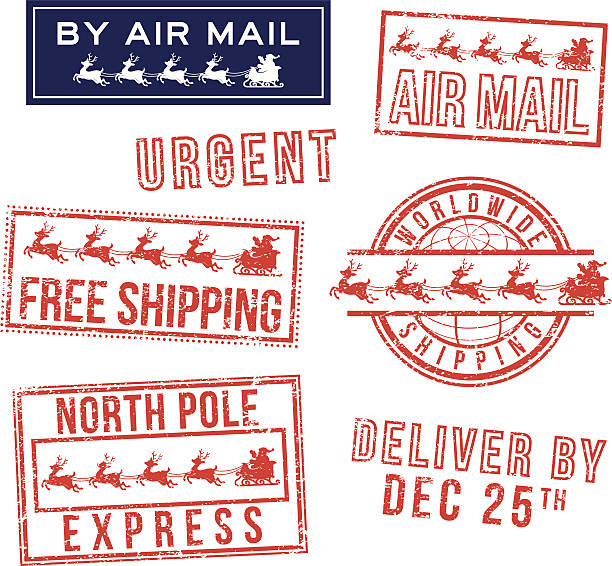 Christmas mail rubber stamps Christmas mail rubber stamps. north pole stock illustrations