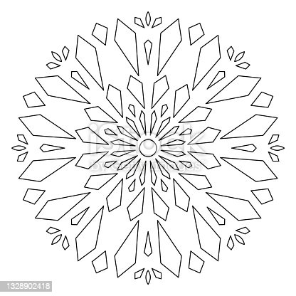 istock Christmas Mandala. Round Element For Coloring Book. Black Lines on White Background. Abstract Geometric Ornament. Vector. 1328902418