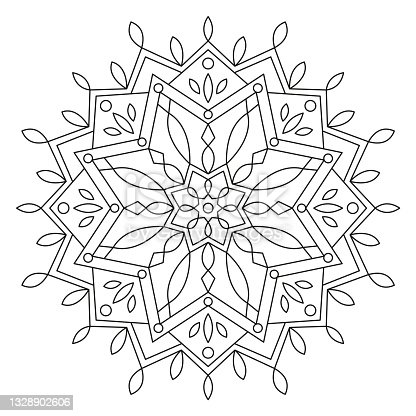 istock Christmas Mandala. Round Element For Coloring Book. Black Lines on White Background. Abstract Geometric Ornament. Vector. 1328902606
