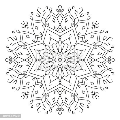 istock Christmas Mandala. Round Element For Coloring Book. Black Lines on White Background. Abstract Geometric Ornament. Vector. 1328902618