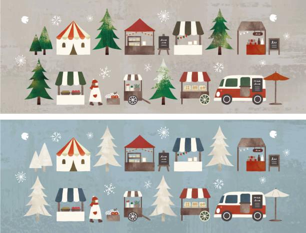 weihnachtsmarkt 2 - weihnachtsmarkt stock-grafiken, -clipart, -cartoons und -symbole