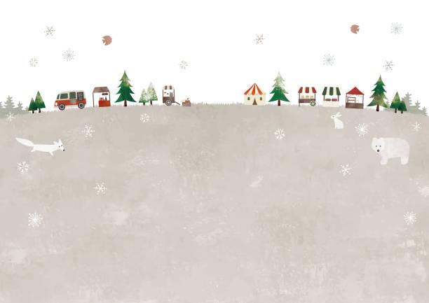 weihnachtsmarkt und tiere - weihnachtsmarkt stock-grafiken, -clipart, -cartoons und -symbole