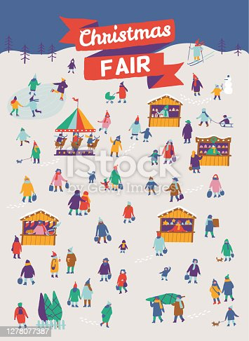 Christmas market and holiday fair outdoor flat vector. Celebrating winter holidays at town square. Vendors selling fir trees, food and presents. Xmas atmosphere, traditional holiday shopping.