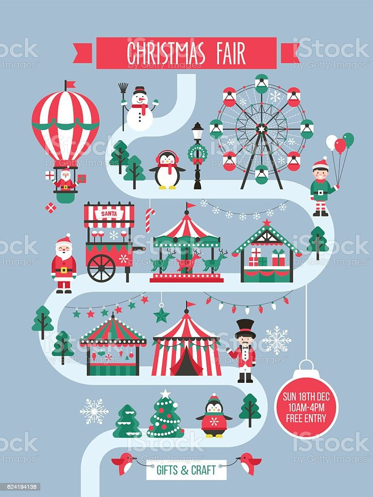 Christmas Carnival Poster.Christmas Market And Holiday Fair Poster Design Stock