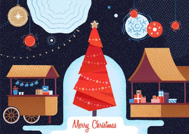 weihnachtsmarkt und ferienmesse. - weihnachtsmarkt stock-grafiken, -clipart, -cartoons und -symbole
