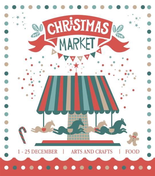 weihnachten marktgestaltung - weihnachtsmarkt stock-grafiken, -clipart, -cartoons und -symbole