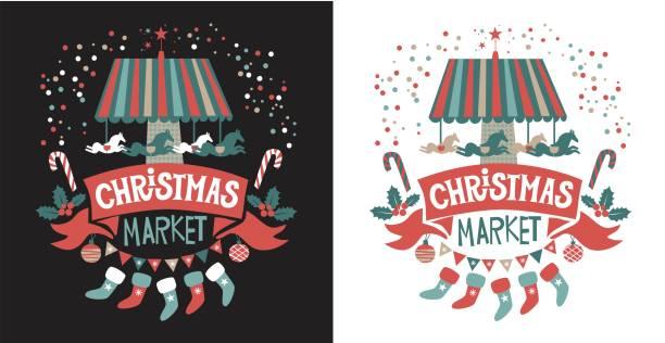 weihnachten-markt-emblem auf der red ribbon mit weihnachtsschmuck, karussell mit pferden, strümpfe, girlande, weihnachtsschmuck, tannenzweigen, konfetti - weihnachtsmarkt stock-grafiken, -clipart, -cartoons und -symbole