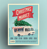 Christmas market fair announcement poster or flyer design with cartoon food truck with christmas tree on the roof. Christmas market card. Vector eps 10 illustration