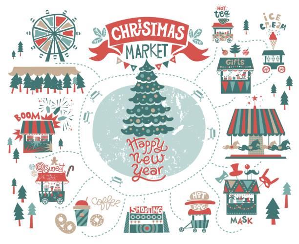 markt, messe, winter weihnachtsfestival set. happy new year-inschrift - weihnachtsmarkt stock-grafiken, -clipart, -cartoons und -symbole