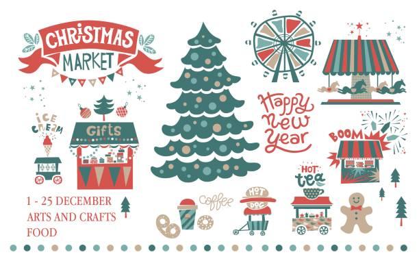 weihnachten markt, messe, winterfestival set - weihnachtsmarkt stock-grafiken, -clipart, -cartoons und -symbole