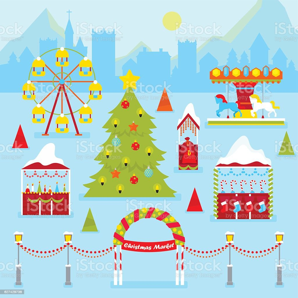 Christmas Market Fair with Winter Holidays Traditional Kiosks vector art illustration