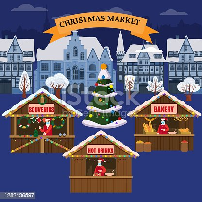 istock Christmas Market holiday fairs or festive on city square. In conditions of the COVID 2019 pandemic sellers in medical masks, Social distancing. Canopy, stalls, kiosks. Background silhoutte old town, Xmas tree. Vector illustration isolated 1282436597