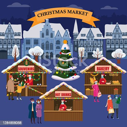 istock Christmas Market holiday fairs or festive on city square. In conditions of the COVID 2019 pandemic sellers in medical masks, Social distancing. People walk and buy between canopy, stalls, kiosks. Background silhoutte old town, Xmas tree. Vector 1284858058