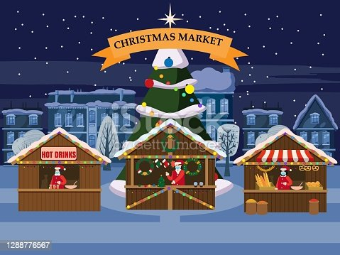 istock Christmas Market holiday fairs or festive on city square. In conditions of the COVID 2019 pandemic sellers in medical masks, Social distancing. Canopy, stalls, kiosks. Background silhoutte old town, Xmas tree. Vector illustration isolated 1288776567