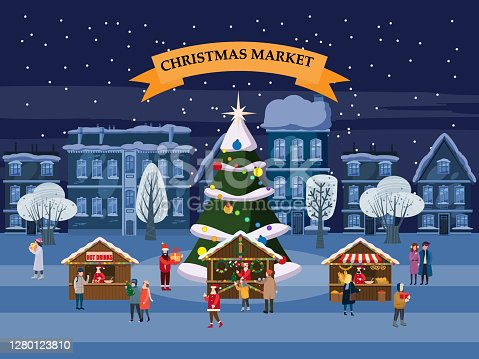 istock Christmas Market holiday fairs or festive on city square. People walk and buy between canopy, stalls, kiosks. Background silhoutte old town, Xmas tree. Vector illustration isolated 1280123810