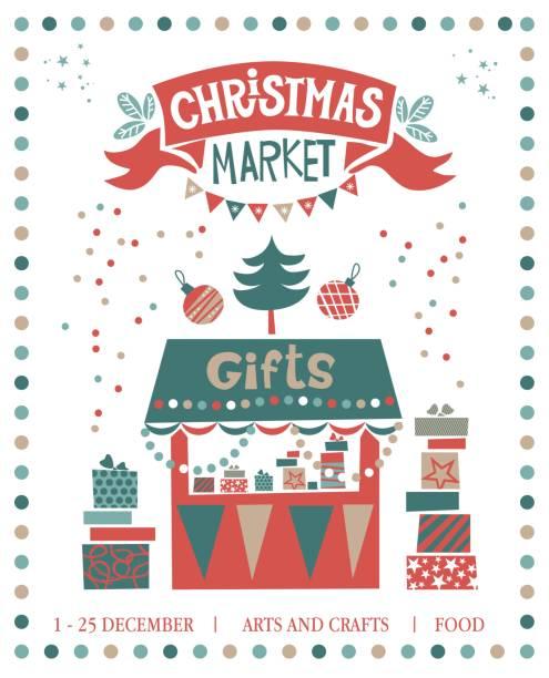 weihnachten markt abbildung. geschenke-shop - weihnachtsmarkt stock-grafiken, -clipart, -cartoons und -symbole