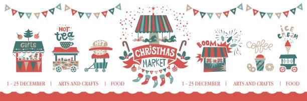 weihnachten markt abbildung. frohe weihnachten und happy new year auf vergnügungspark, wintermarkt, festival, messe - weihnachtsmarkt stock-grafiken, -clipart, -cartoons und -symbole
