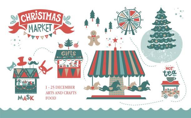 weihnachten markt abbildung - weihnachtsmarkt stock-grafiken, -clipart, -cartoons und -symbole