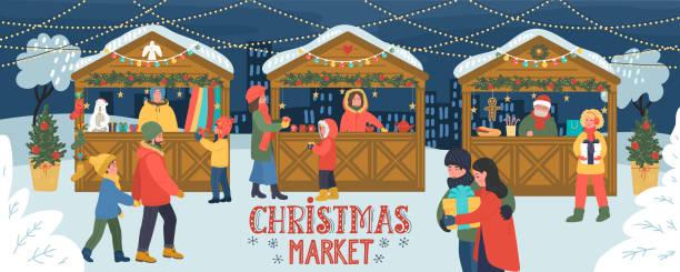 weihnachtsmarkt. kioske mit geschenken, speisen und heißen getränken. - weihnachtsmarkt stock-grafiken, -clipart, -cartoons und -symbole