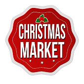 Christmas market label or sticker on white background, vector illustration