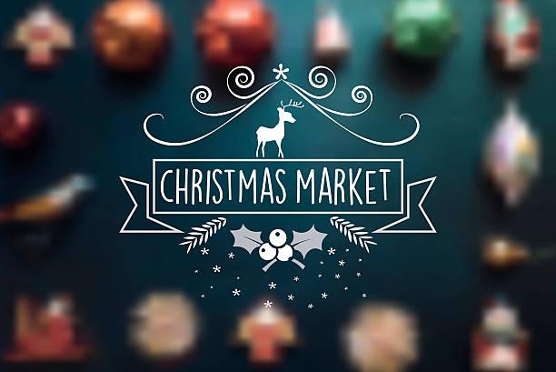 christmas market line vintage badge on blurred balls - weihnachtsmarkt stock-grafiken, -clipart, -cartoons und -symbole