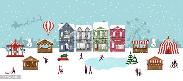 Christmas Market Outdoor Festival. Winter Wonderland. Happy People. Vector illustration