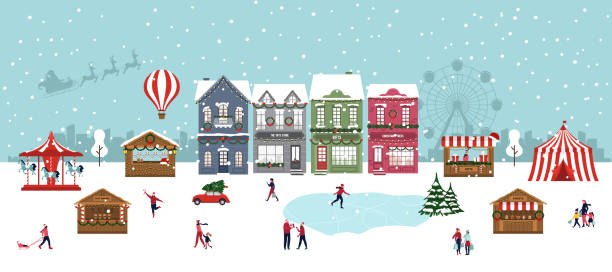 bildbanksillustrationer, clip art samt tecknat material och ikoner med julmarknad utomhus festival. winter wonderland. lyckliga människor. vektor - by