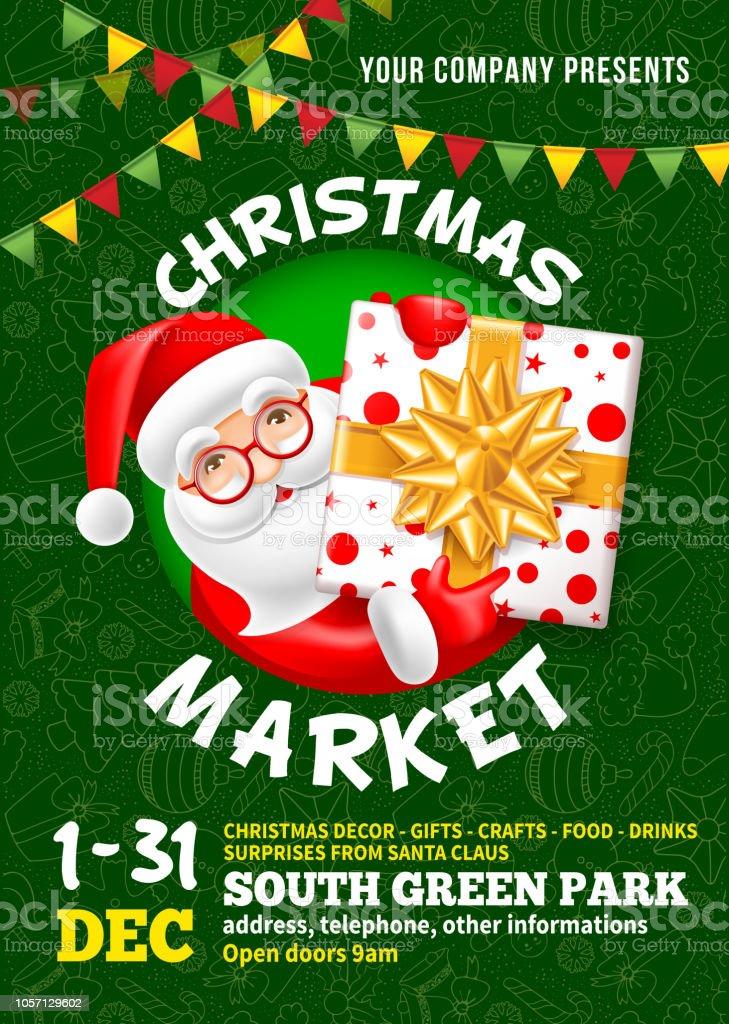 Modelo de cartaz do mercado de Natal - ilustração de arte em vetor